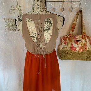 Urban sheer city dress, lace tie up open back